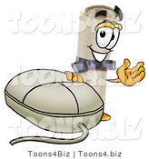 Illustration of a Cartoon Diploma Mascot with a Computer Mouse by Toons4Biz