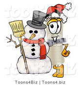 Illustration of a Cartoon Diploma Mascot with a Snowman on Christmas by Toons4Biz