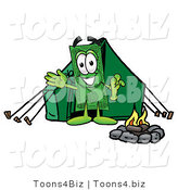 Illustration of a Cartoon Dollar Bill Mascot Camping with a Tent and Fire by Toons4Biz