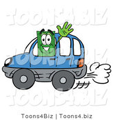 Illustration of a Cartoon Dollar Bill Mascot Driving a Blue Car and Waving by Toons4Biz