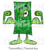 Illustration of a Cartoon Dollar Bill Mascot Flexing His Arm Muscles by Toons4Biz