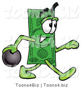 Illustration of a Cartoon Dollar Bill Mascot Holding a Bowling Ball by Toons4Biz