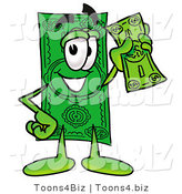 Illustration of a Cartoon Dollar Bill Mascot Holding a Dollar Bill by Toons4Biz