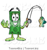 Illustration of a Cartoon Dollar Bill Mascot Holding a Fish on a Fishing Pole by Toons4Biz