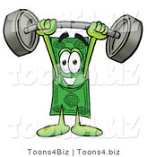 Illustration of a Cartoon Dollar Bill Mascot Holding a Heavy Barbell Above His Head by Toons4Biz