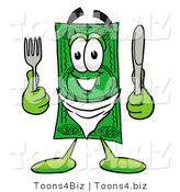 Illustration of a Cartoon Dollar Bill Mascot Holding a Knife and Fork by Toons4Biz