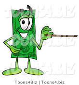 Illustration of a Cartoon Dollar Bill Mascot Holding a Pointer Stick by Toons4Biz