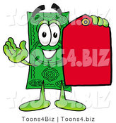 Illustration of a Cartoon Dollar Bill Mascot Holding a Red Sales Price Tag by Toons4Biz