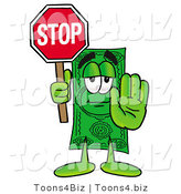 Illustration of a Cartoon Dollar Bill Mascot Holding a Stop Sign by Toons4Biz
