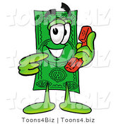 Illustration of a Cartoon Dollar Bill Mascot Holding a Telephone by Toons4Biz