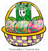 Illustration of a Cartoon Dollar Bill Mascot in an Easter Basket Full of Decorated Easter Eggs by Toons4Biz