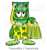 Illustration of a Cartoon Dollar Bill Mascot in Green and Yellow Snorkel Gear by Toons4Biz