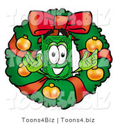 Illustration of a Cartoon Dollar Bill Mascot in the Center of a Christmas Wreath by Toons4Biz