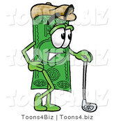 Illustration of a Cartoon Dollar Bill Mascot Leaning on a Golf Club While Golfing by Toons4Biz