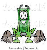 Illustration of a Cartoon Dollar Bill Mascot Lifting a Heavy Barbell by Toons4Biz