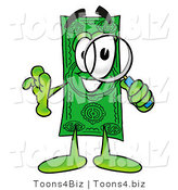 Illustration of a Cartoon Dollar Bill Mascot Looking Through a Magnifying Glass by Toons4Biz
