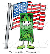 Illustration of a Cartoon Dollar Bill Mascot Pledging Allegiance to an American Flag by Toons4Biz