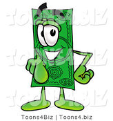 Illustration of a Cartoon Dollar Bill Mascot Pointing at the Viewer by Toons4Biz