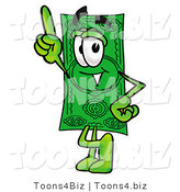 Illustration of a Cartoon Dollar Bill Mascot Pointing Upwards by Toons4Biz