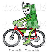 Illustration of a Cartoon Dollar Bill Mascot Riding a Bicycle by Toons4Biz