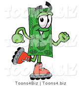 Illustration of a Cartoon Dollar Bill Mascot Roller Blading on Inline Skates by Toons4Biz