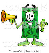 Illustration of a Cartoon Dollar Bill Mascot Screaming into a Megaphone by Toons4Biz