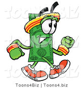 Illustration of a Cartoon Dollar Bill Mascot Speed Walking or Jogging by Toons4Biz