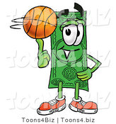 Illustration of a Cartoon Dollar Bill Mascot Spinning a Basketball on His Finger by Toons4Biz