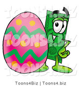Illustration of a Cartoon Dollar Bill Mascot Standing Beside an Easter Egg by Toons4Biz