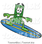 Illustration of a Cartoon Dollar Bill Mascot Surfing on a Blue and Yellow Surfboard by Toons4Biz