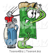 Illustration of a Cartoon Dollar Bill Mascot Swinging His Golf Club While Golfing by Toons4Biz