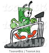 Illustration of a Cartoon Dollar Bill Mascot Walking on a Treadmill in a Fitness Gym by Toons4Biz