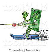 Illustration of a Cartoon Dollar Bill Mascot Waving While Water Skiing by Toons4Biz