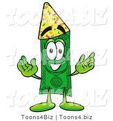 Illustration of a Cartoon Dollar Bill Mascot Wearing a Birthday Party Hat by Toons4Biz