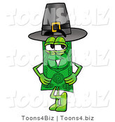 Illustration of a Cartoon Dollar Bill Mascot Wearing a Pilgrim Hat on Thanksgiving by Toons4Biz