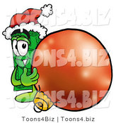 Illustration of a Cartoon Dollar Bill Mascot Wearing a Santa Hat, Standing with a Christmas Bauble by Toons4Biz