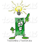 Illustration of a Cartoon Dollar Bill Mascot with a Bright Idea by Toons4Biz