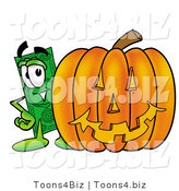 Illustration of a Cartoon Dollar Bill Mascot with a Carved Halloween Pumpkin by Toons4Biz