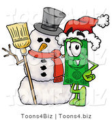 Illustration of a Cartoon Dollar Bill Mascot with a Snowman on Christmas by Toons4Biz
