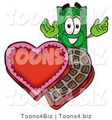 Illustration of a Cartoon Dollar Bill Mascot with an Open Box of Valentines Day Chocolate Candies by Toons4Biz
