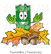 Illustration of a Cartoon Dollar Bill Mascot with Autumn Leaves and Acorns in the Fall by Toons4Biz