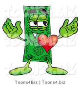 Illustration of a Cartoon Dollar Bill Mascot with His Heart Beating out of His Chest by Toons4Biz