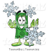 Illustration of a Cartoon Dollar Bill Mascot with Three Snowflakes in Winter by Toons4Biz