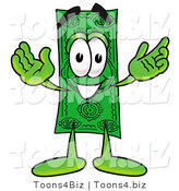 Illustration of a Cartoon Dollar Bill Mascot with Welcoming Open Arms by Toons4Biz