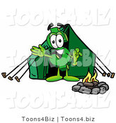 Illustration of a Cartoon Dollar Sign Mascot Camping with a Tent and Fire by Toons4Biz