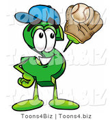 Illustration of a Cartoon Dollar Sign Mascot Catching a Baseball with a Glove by Toons4Biz