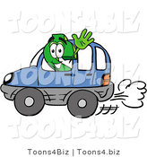 Illustration of a Cartoon Dollar Sign Mascot Driving a Blue Car and Waving by Toons4Biz