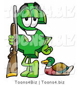 Illustration of a Cartoon Dollar Sign Mascot Duck Hunting, Standing with a Rifle and Duck by Toons4Biz