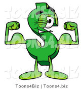 Illustration of a Cartoon Dollar Sign Mascot Flexing His Arm Muscles by Toons4Biz