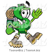 Illustration of a Cartoon Dollar Sign Mascot Hiking and Carrying a Backpack by Toons4Biz
